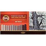 Koh-I-Noor TOISON D'OR 8592 Crayons Pastels Doux pour l'Artiste - Gris (Lot de 12)