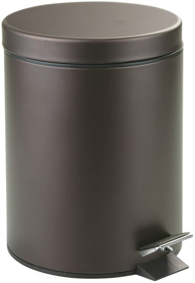 "iDesign Metal Step Trash Can with Lid, 5 Liter Waste Basket Bin with Insert for Bathroom, Kitchen, Office, 8"" x 8"" x 11"", Bronze"