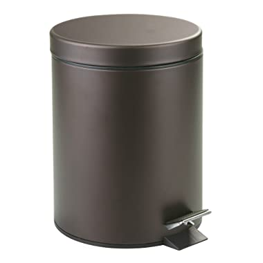 iDesign Metal Step Trash Can with Lid, 5 Liter Waste Basket Bin with Insert for Bathroom, Kitchen, Office, 8  x 8  x 11 , Bronze