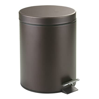 amazon com interdesign metal step trash can with lid 5 liter waste rh amazon com bronze bathroom trash can with lid