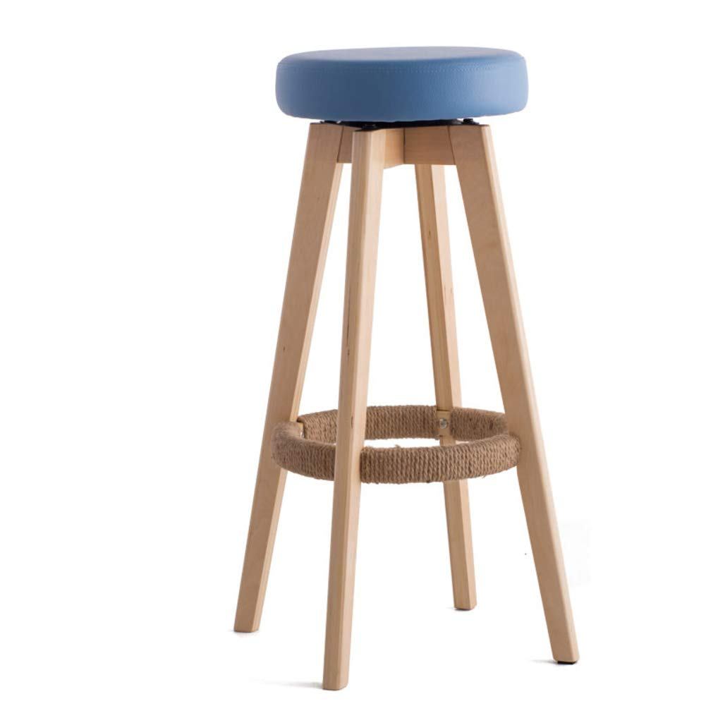 bluee Solid Wood Barstools, 360 Degree Swivel Handmade Pub Chair Filled Cotton Counter Bar Stool Chair for Bar Home-Beige