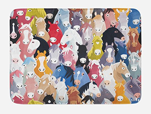 """Lunarable Abstract Bath Mat, Pattern with Colorful Cartoon Style Horses Pony Childhood Theme Childish Artwork, Plush Bathroom Decor Mat with Non Slip Backing, 29.5"""" X 17.5"""", Blue Green"""
