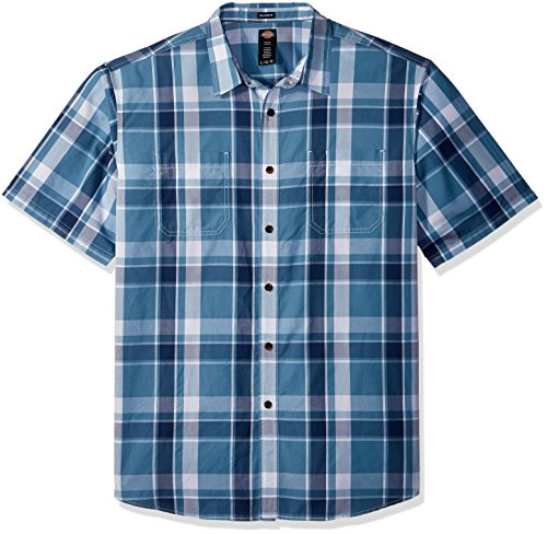 Tonal Plaid Shirt (Dickies Men's Big and Tall Yarn Dyed Plaid Short Sleeve Shirt, Tonal Blue Plaid, 5X)