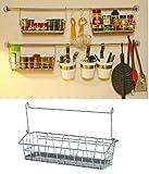 Ikea Steel Wire Basket Spice Rack Hang or Free Standing Kitchen Storage Holder Bygel