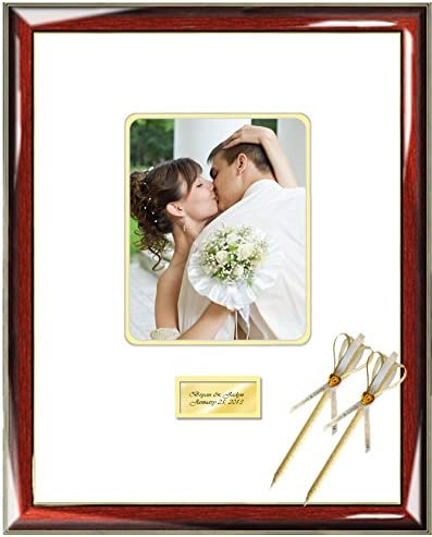 Amazon Com Personalized Wedding Autograph Frame Anniversary Graduation Birthday Engraved Wedding Wishes Signature Matted Frame Wedding Guest Book Frame Signature Mat Retirement Prestige Ivory Single Frames