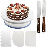 WisFox Tortenplatte drehbar Tortenständer Kuchen Drehteller Cake Decorating Turntable mit 2 Stück Winkelpalette Set, 3 Stück Icing Smoother, für Backen Gebäck, Zuckerguss, Mustern 28 x 7 cm Weiß