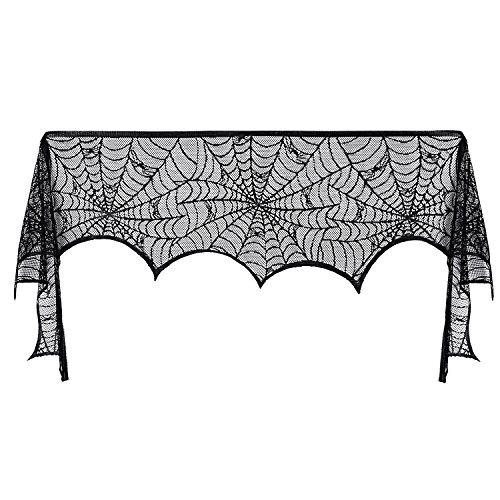 Pangda Halloween Cobweb Fireplace Scarf Mantle Scarf Spider Web Decorations Black Mantle Scarves Cover Lace Runner for Halloween Christmas Party Door Window Decoration, 18 x 96 inch -