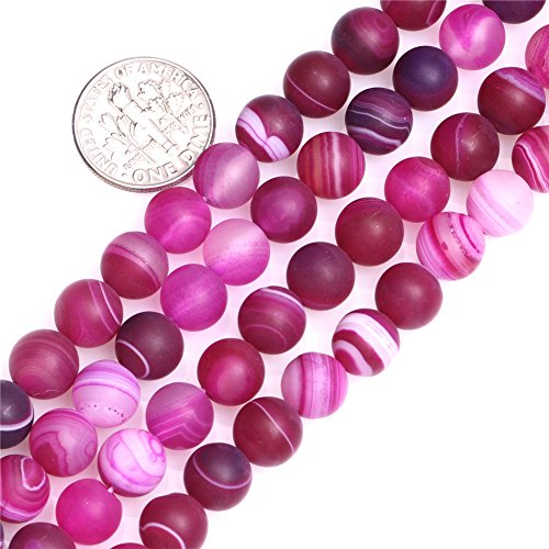 SHG 8mm Round Frost Plum Agate Beads Natural Gemstone Agate Beads For Jewerly Making Beads Strand 15 inches Jewelry Making Beads Spacer Beads Jewelry Plum