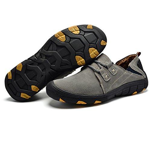 Pelliccia SPEEDEVE di Calda Loafers Pelle Scarpe da Grigio Classico Mocassini Uomo Scamosciata Casuale Fodera 6HwIYHrxXq
