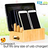 EZR life Bamboo Charging Station Organizer for Multiple Devices Electronics Cell Phones Tablets USB charger - Wooden, Real Bamboo, Eco-friendly