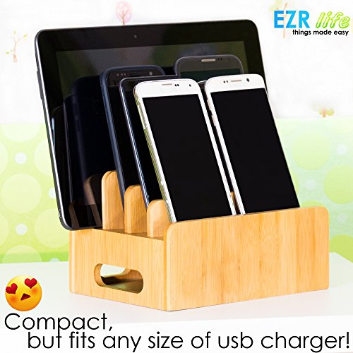 EZR life Bamboo Charging Station Organizer for Multiple Devices Electronics Cell Phones Tablets USB charger - Wooden, Real Bamboo, Eco-friendly by EZR life