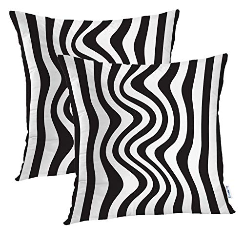 Batmerry Black and White Pillow Cover 18x18 Inch Set of 2, Zebra Rainbow and White Print Double Sided Square Pillow Cases Pillowcase Sofa Cushion ()