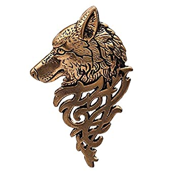 Hosaire 1X Fashion Personality Wolf Head Men's Women's Brooch Pin Rhinestone Covered Business Suit Scarves Shawl Clip For Women Men Girls Party