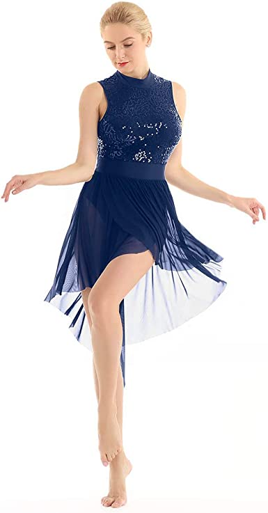dPois Vestido de Danza Lentejuelas Mujer Maillot con Falda de ...
