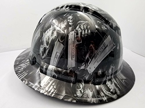 Wet Works Imaging Customized Pyramex Full Brim GRIM REAPER SKULL SHOOTER HARD HAT With Ratcheting Suspension CUSTOM LIDS CRAZY SICK CONSTRUCTION PPE by Wet Works Imaging (Image #2)