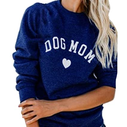 49a94681a0a Amazon.com  KFSO Womens Plus Size Dog MOM Letter Print Long Sleeve ...