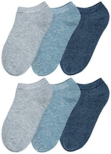 1921 Denim Jeans - Trimfit Unisex Kids No Show Sport Liner Comfortoe Socks (Pack of 6), Denim Heather, S (7-8.5)