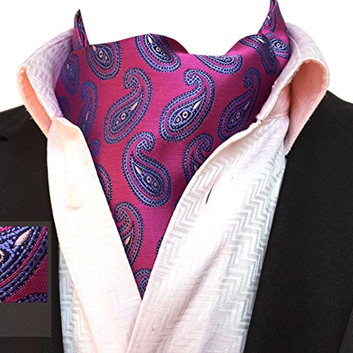 Jacquard Ljb Paisley Reversible Floral 06 Mens Cravat Neck Purple Plaid Elegant Tie Ascot Scarf YCHENG qx7HwXnn