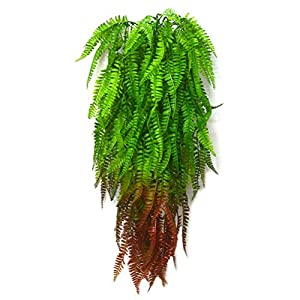 Artificial Boston Fern Bush Vines Faux Plants Hanging Vine Shrubs Greenery Bushes for Indoor Outside Home Garden Office Verandah Wedding Decor 1