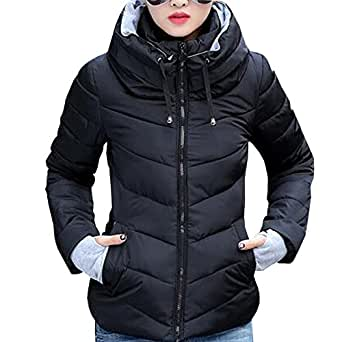 XFentech Winter Women's Collar Outdoor Jacket Short Down Cotton Coat Stand - Black