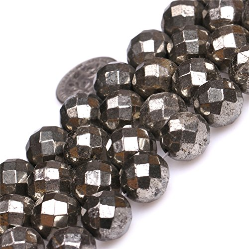 - Pyrite Beads for Jewelry Making Natural Semi Precious Gemstone 12mm Round Faceted Silver Gray Strand 15
