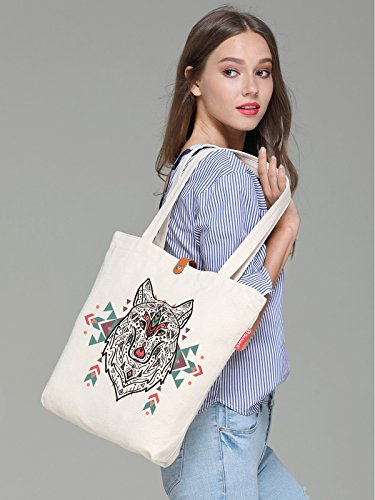 So'each Women's Animal Wolf Ethnic Style Top Handle Canvas Tote Shopping Bag