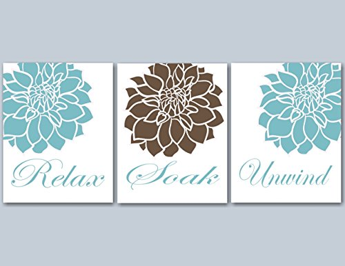 Blue Brown Floral Bathroom Wall Art,Teal Brown Bathroom Wall Art,Brown Aqua Floral Wall Art,Aqua Floral Bathroom Wall Art- UNFRAMED set of 3 PRINTS(NOT - Class First Tracking Ups Mail