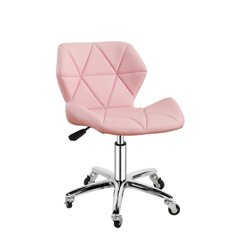 Barstools ZHIRONG PU Home Office Computer Desk Chairs Swivel Stool Chair On Wheels Kitchen Breakfast Chair Adjustable Height (Color : Pink)