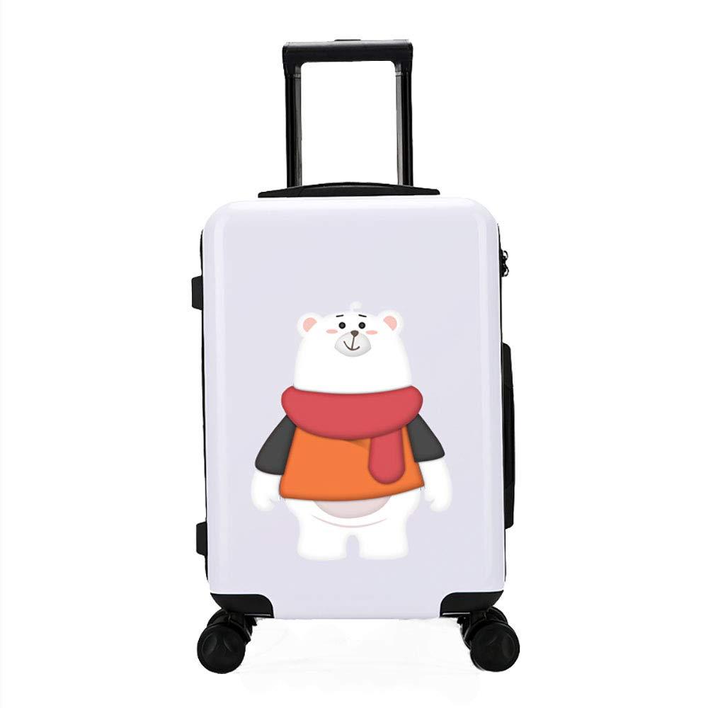 トロリースーツケース女性の漫画のスーツケース20インチのキャスター男性の小さな新鮮な旅行のパスワードボックス白   B07KWL8TXX