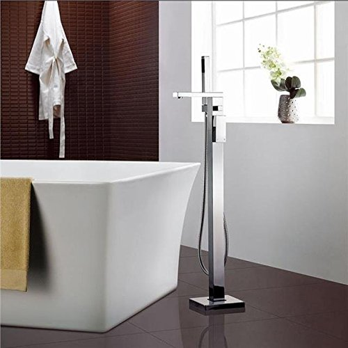 Yanksmart Luxury Single Lever Floor Mounted Bathroom Bathtub with Handheld Mixer Shower Faucet Set ,Chrome Finish Ys2326 (Bath Filler Single Lever)
