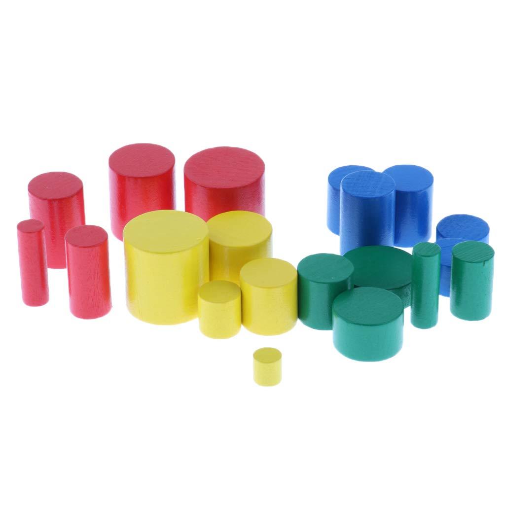 Ensemble De Jouets en Bloc De Bois Et Cylindres sans Knock Stack Set pour Enfants en Bas /Âge Enfants /À Apprendre Forme LOVIVER Montessori Sensorial Material