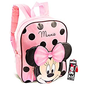 Disney Minnie Mouse Backpack for Toddlers ~ 12″ Minnie Mouse Mini School Bag with 3D Ears and Bow with Bookmark (Minnie Mouse School Supplies Bundle)