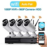 Cheap [Better Than 720P] Video Security System 4 Pack- HD 960P WiFi IP Cameras and 1080P NVR with 1TB HDD (WiFi NVR Kits) Smart WiFi Wireless Security Cameras System, IR Night Vision and Remote Access
