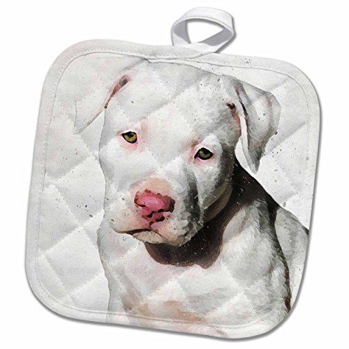 3D Rose American Staffordshire Terrier Pit Bull Puppy Watercolor Pot Holder 8 x 8