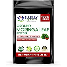Blue Lily Organics Moringa Oleifera Leaf Powder (1 lb) -100% Pure RAW, Certified Organic, Non-GMO, Energy, Metabolism and Immune Booster. Rich in Multivitamins and Antioxidants