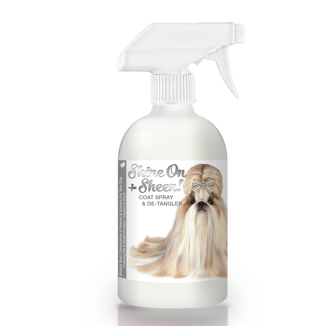 The Blissful Dog Shine-On + Sheen Coat Spray, All Natural Leave in Conditioner and Detangler for Your Dog, 16-Ounce