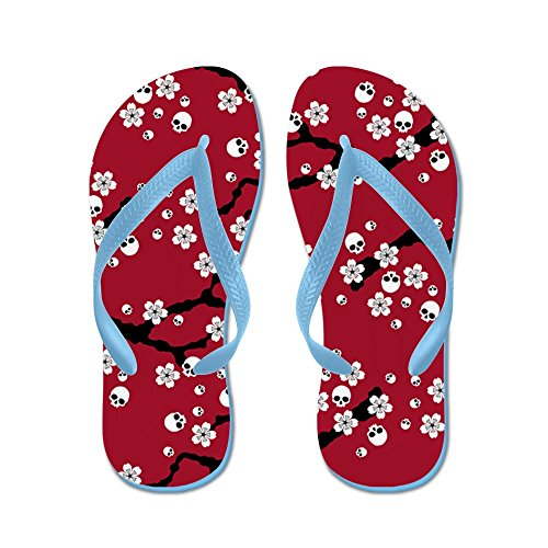 CafePress Gothic Cherry Blossoms Pattern - Flip Flops, Funny Thong Sandals, Beach Sandals Caribbean Blue