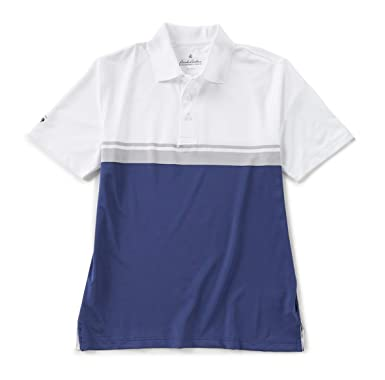 7a2d0349 Brooks Brothers Men's Performance Series Short Sleeve Polo Shirt (Small,  Navy Stripe)