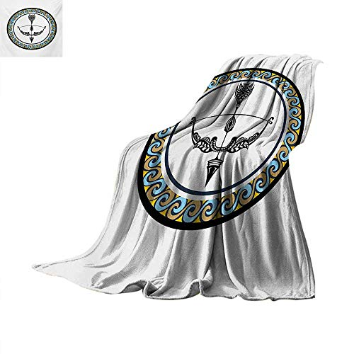 Zodiac Sagittarius Weave Pattern Blanket Victorian Inspired Bow and Arrow Design with Colorful Curves and Swirls Summer Quilt Comforter 90