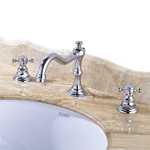 Rozin Chrome 3 Holes Widespread Basin Faucet 2 Knobs Bathroom Vanity Sink Tap -