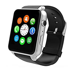 Wingtech GT88 Bluetooth Smart Watch Touch Screen IP57 Waterproof Smart Wrist Watch with Camera Sim Card Slot Sport Heart Rate Monitor Compatible with iOS Android Smartphones (Sliver)