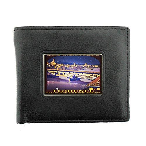Black Bifold Leather Material Wallet D-060 Florence Par Le Train De Luxe Rome Expre Paris Lyon