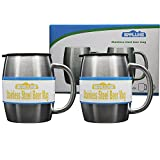 Gamlung Stainless Steel Beer Mugs with Bonus Lids, 14Oz Double-Walled Insulated Travel Tea Coffee Cup,100% Lifetime Satisfaction Guarantee- Set of 2