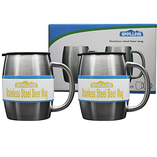 Oz 14 Stein Plastic (Gamlung Stainless Steel Beer Mugs with Bonus Lids, 14Oz Double-Walled Insulated Travel Tea Coffee Cup,100% Lifetime Satisfaction Guarantee- Set of 2)