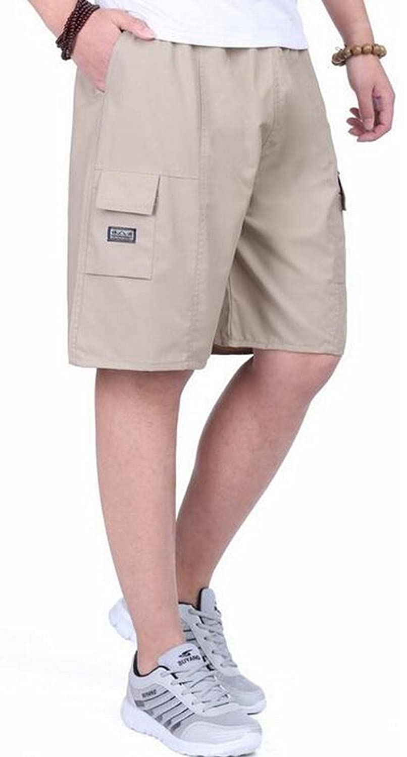 OULIU Men's Summer Elastic Waist Loose Cargo Shorts Beach Shorts