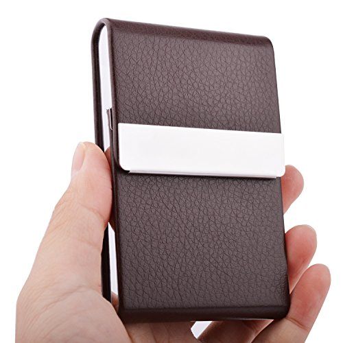 MaxGear Leather Business Card Holder Genuine Leather Stainless Steel Business Card Case Professional Name Card Holder Slim Metal Business Cards Organizer with Magnetic Shut (Large Magnetic Metal Desk)