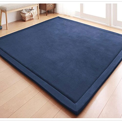 (Eanpet Soft Tatami Mat 5' x 7' Area Rug Pad Non-Slip Memory Foam Carpet Large Playmats for Kids Crawling Mat Anti-Skid Doormats Living Room Bedroom Mat Women Gym Mat Navy Blue)
