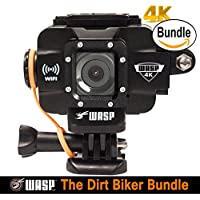 WASPcam 4K 9907 Action-Sports Camera, Black (The Dirt Biker Bundle)
