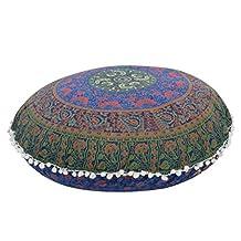 KMG Kimloog Round Pillow Cover, Decorative Mandala Pillow Sham, Indian Bohemian Ottoman Poufs, Outdoor Cushion Cover, Pom Pom