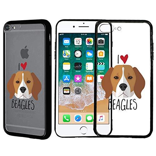 [Inkmodo] Clear TPU Case for iPhone 7 Plus/iPhone 8 Plus - I Love Beagles Cute Beagle Pet Pup Lover Printed Unique Design Pattern Cover